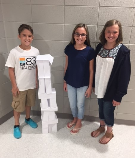 Students in Brad Darnall's 6th grade math class working to create the tallest freestanding structure using only 25 sheets of paper. Students practiced teamwork and problem solving skills.