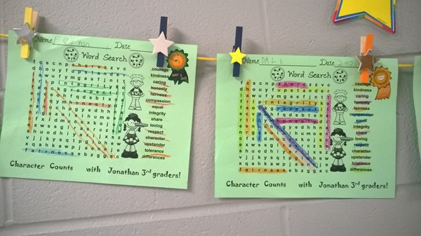 3rd grade Character word searches